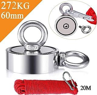 Uolor 272KG Haftkraft Doppelseitig Neodym Ösenmagnet mit Seil 20M/66ft, Super Stark Magnete Perfekt zum Magnetfischen Magnet Angel - Durchmesser 60mm mit 2 Öse Neodymium Topfmagnet