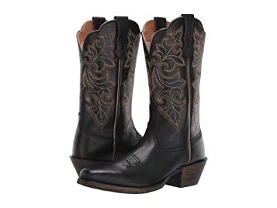 Ariat Round Up Square Toe (Limousine Black) Cowboy Boots