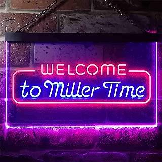 zusme Welcome Miller Time Bar Novelty LED Neon Sign Red + Blue W16 x H12