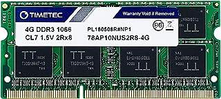 Timetec Hynix IC 4GB DDR3 1066MHz PC3-8500 Unbuffered Non-ECC 1.5V CL7 2Rx8 Dual Rank 204 Pin SODIMM Memory RAM Module Upg...