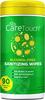 Care Touch - CTAFWC90US-VC Alcohol-Free Hand Sanitizing Wipes - 1 Canister | 90 Antibacterial Wipes with Vitamin E + Aloe ...