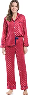 Women's Silky Satin Pajamas, Button Up Long Sleeve PJ Set Sleepwear Loungewear