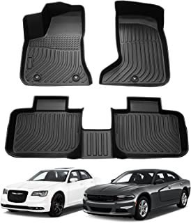Cartist Floor Mats for 2021 Charger AWD / Chrysler 300 AWD All Weather Floor Liners Compatible with 2011-2020 2022 Dodge Charger AWD / Chrysler 300 AWD Accessories TPE Odorless High Edge Mat