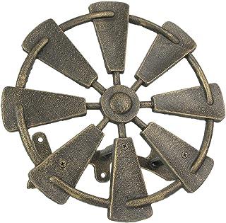 Zeckos Cast Iron Farmhouse Windmill Decorative Wall Mounted Hanging Garden Hose Holder Bronze Finish