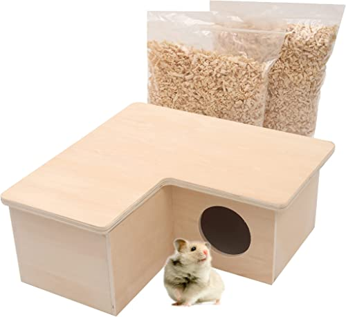 new arrival (Combo Pack) TonGass Large 3-Room/6-Room Hamster House with 1/2 Pound Natural Paper Bedding - Wooden Syrian Hamster House Maze 2021 - Made discount from Safe and Materials outlet sale