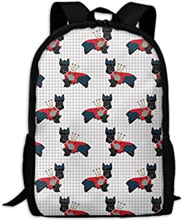 Comfortable School Bookbag Backpack Scottie Dog with Bagpipes Adjustable Shoulder Straps Laptop Daypack for School/Office/Library/Shopping/Climbing/Yoga/Beach