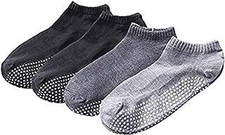 SANIQUEEN.G, 4 Pares Antideslizante Skid Yoga, Pilates Calcetines algodón con agarres para Hombres