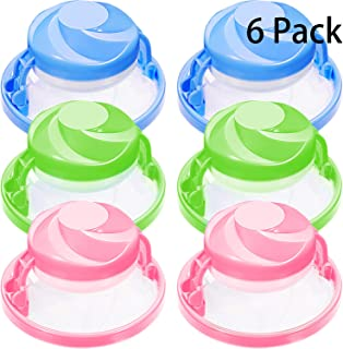 Norme 6 Pieces Household Reusable Washing Machine Floating Lint Mesh Bag Hair Filter Net Pouch (Green, Blue and Pink)