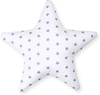 Cojín decorativo con forma de estrella, aprox. 60 cm, para habitación de los niños, cojín decorativo con relleno para dormitorio, habitación de bebé, niña, niño, estrella, color blanco (A3)