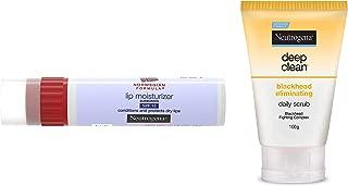 Neutrogena Norwegian Formula Lip Moisturizer, SPF 15, 4g & Deep Clean Blackhead Eliminating Daily Scrub, 100g Combo