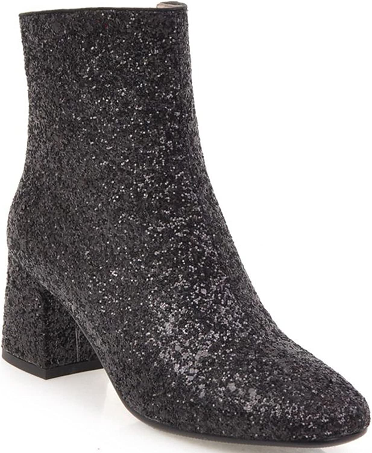 KingRover Women's Sequined Square-toe Chunky Heel Bootie