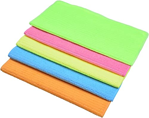 Sinland Household Multi-Purpose Microfiber Cleaning Cloths Kitchen Cloth with Stripe 30cmx30cm 5 Pack