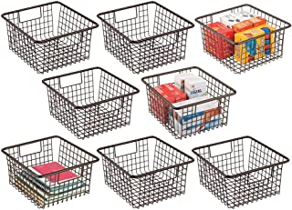 $64 » mDesign Farmhouse Metal Wire Storage Organizer Bin Basket Holder with Handles - for Home, Office Supplies, Desk, Paper, Colored Pencils, Markers, Tape, Folders, Notepads - Medium, 8 Pack - Bronze
