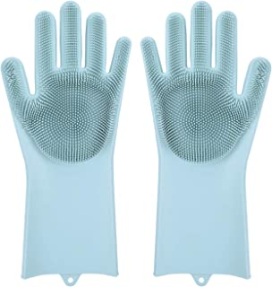Sponsored Ad - Magic Dishwashing Gloves with Scrubber, Silicone Cleaning Reusable Scrub Gloves for Wash Dish,Kitchen, Bath...
