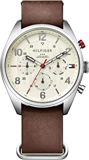 Tommy Hilfiger Corbin Men's Beige Dial Leather Band Watch - 1791188