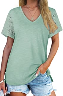 Womens Summer Tops Lace Short Sleeve V Neck T Shirts Side...