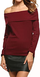 FineFolk Women Off Shoulder Sweater Casual Fold Over Strapless Long Sleeve Pullover