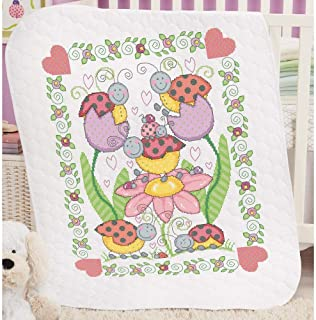 Herrschners Pre-Quilted Lovely Ladybugs Baby Quilt Kit Stamped Cross-Stitch Kit