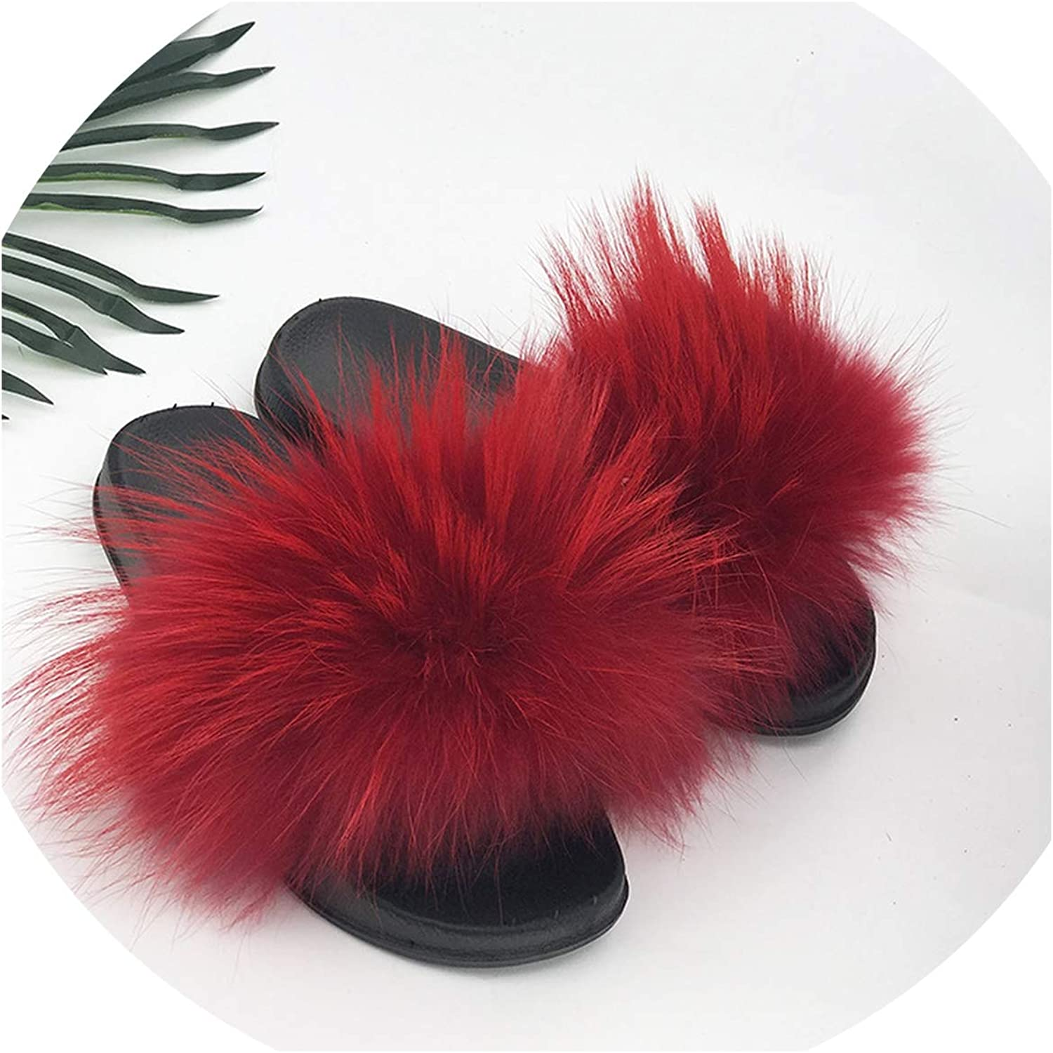 Just XiaoZhouZhou 28 colors Real Fur Slippers Women Fox Fluffy Sliders Comfort with Feathers Furry Summer Flats Sweet Ladies shoes Plus Size 36-45,18,9.5