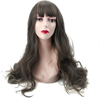 Long Wavy Grey Wig Bangs - Gray Wigs for Women Cosplay, Lolita Fashion Style Synthetic Hair with Wig Cap