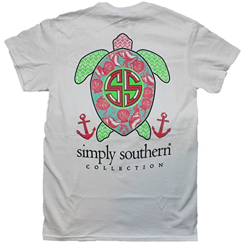 9013018fe15 Simply Southern Tees Short Sleeve Preppy Turtle Shells White