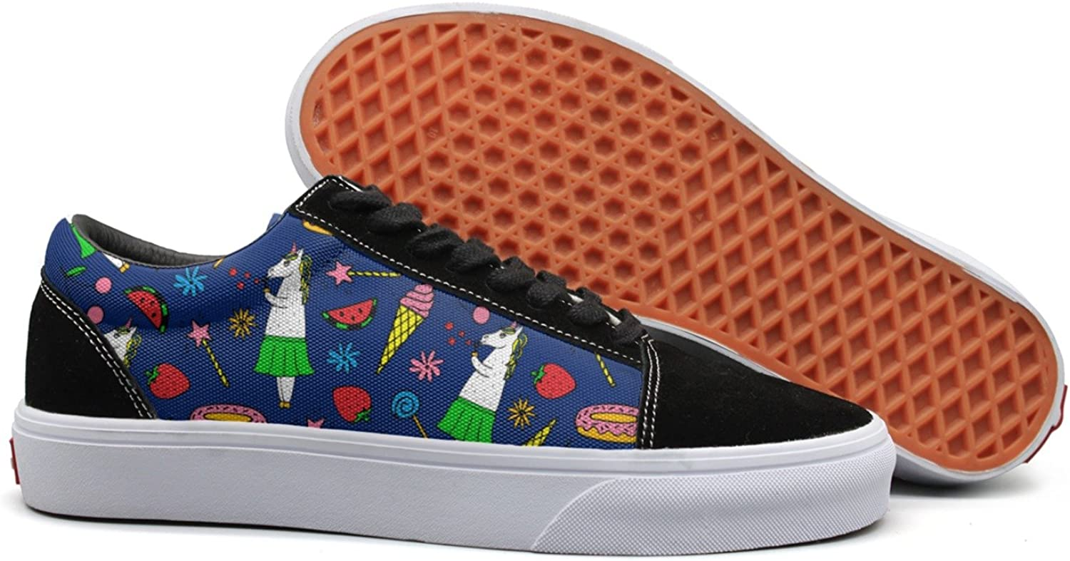 Feenfling Ice Cream bluee Unicorn Donut Watermelon Womens Navy Canvas Deck shoes Low Top Exclusive Cloth shoes for Women's