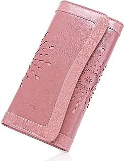 Larga Billetera de Mujer con Bolsillo de Cremallera y Correas de Mu/ñeca Bloqueo RFID Monedero de Piel para Se/ñora con 26 Ranuras de la Tarjeta Gran Capacidad Cartera de Cuero de Mujer Azul