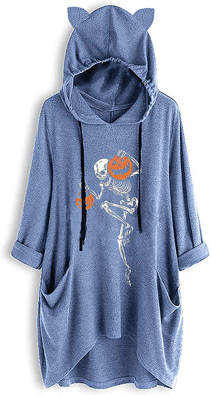 Hoodies for Women Skull Pumpkin Halloween Print Blouse Plus Size Irregular Top Pockets Drawstring Sweatshirt