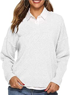 Women V-Neck Sweatershirt Loose Fit Blouse Tops