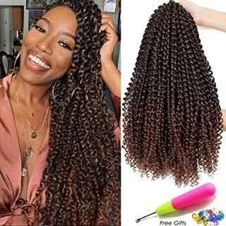 18 Inch Passion Twist Crochet Hair 6 Packs/Lot Water Wave Crochet Braiding Hair Long Bohemian Hair for Passion Twist Synthetic Natural Hair Extensions Hot Water Setting Soft Lightweight (T1B/33#)