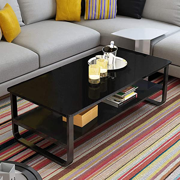 Ketteb Modern Home Coffee Table 2 Tier Cocktail Table With Storage Shelf For Living Room Look Accent Furniture With Metal Frame Modern Studio Collection Classic Rectangular Coffee Table Black