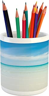 Lunarable Ocean Pencil Pen Holder, Beach at The Tropical Water Lands Color Sea with Sky Surf Hot Paradise, Ceramic Pencil Pen Holder for Desk Office Accessory, 3.6
