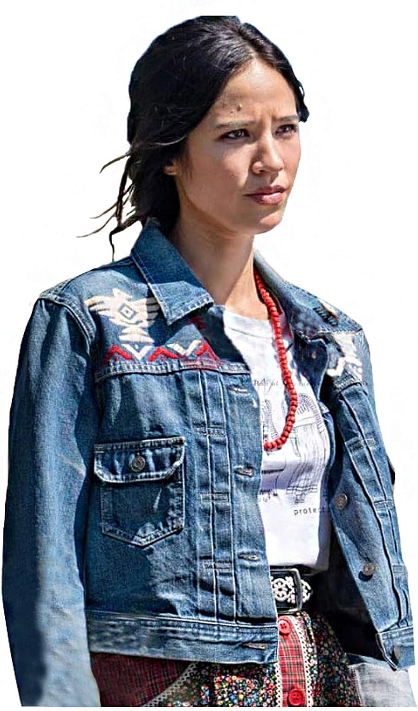 Womens Cowboy Stone Monica Dutton Blue Denim Jacket - Printed Ranch Lightweight Outfit