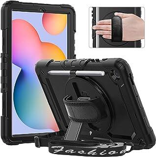 Timecity Galaxy Tab S6 Lite 10.4 ケース 2020 (SM-P610/ P615 ケース) 保護フィルム内蔵 360度回転の自立収納式スタンド ショルダーベルト ハンドストラップ付き ペン収納 頑丈 丈夫 使いや...