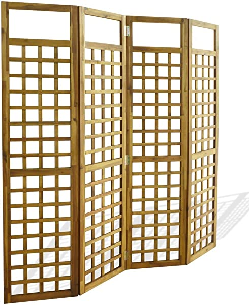 VidaXL Solid Acacia Wood 4 Panel Room Divider Privacy Screen Folding Trellis Patio Divider Plant Support Galvanised Hardware Natural