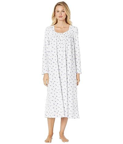 Eileen West Cotton Peached Jersey Long Sleeve Ballet Nightgown (White Ground/Lavender Bouquet) Women