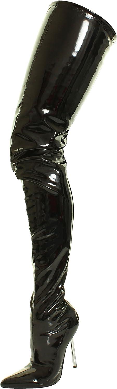 Frauen Stilett über das Knie Gabelungs Silber Metall Strecken Passform Schwarze Overknee Stiefel Schuhe Größe 36 37 38 39 40 41  | Spaß