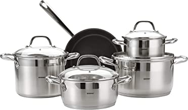 BERGNER BG4391 9piece Gourmet Stainless Steel Cookware Set, Induction, Silver, 18/10 Steel