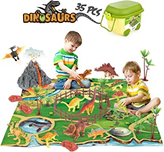 Dinosaur Toys Figure Playset with Play Mat Volcano...