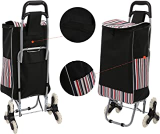 Folding Shopping Cart, Grocery Stair Climbing Trolley Cart Large-Capacity Laundry Utility Cart with Quiet Tri-Wheels & Removable Waterproof Bag (Black)
