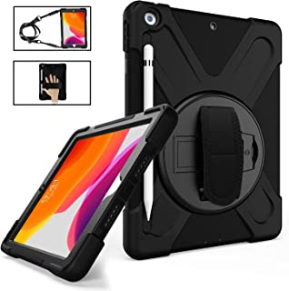 iPad 10.2 Case 2019 with Pencil Holder, TSQ iPad 7th Generation Case Heavy Duty Shockproof Hard Durable Rugged Protective PC Case with Hand Strap/Stand/Shoulder Strap for iPad 7th Generation,Black
