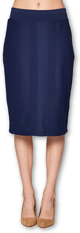 Women's High Waist Knit Stretch Multi Print Office Pencil Skirt (S-3XL) -Made in USA