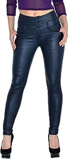 c0997902ab84c by-tex Pantalon Femme Jean Femmes Slim Pantalon en Cuir pour Femmes Cuir  Simili Pantalon
