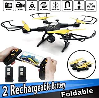 SZJJX RC Drone with 720P HD Camera FPV Live Video Remote Control Quadcopter 2.4GHz RC Helicopter with Altitude Hold Headless Mode 3D Flips One Key Take-Off/Landing Black