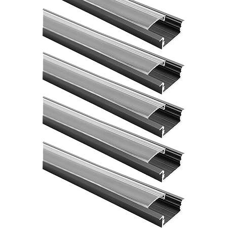 Lightingwill Perfil Led Canal En Forma De U De Aluminio Anodizado Negro Claro Para 12 Mm 5050 3528 Led Flex Duro Tira De Luces Con Cubiertas End Caps Y Clips De