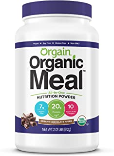 Orgain Organic Plant Based Meal Replacement Powder, Creamy Chocolate Fudge - 20g Protein, Vegan, Dairy Free, Gluten Free, ...