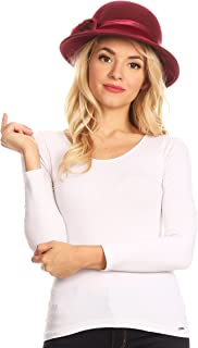 Tessa Wool Cloche Flapper Gatsby Hat with Satin Ribbon Adjustable