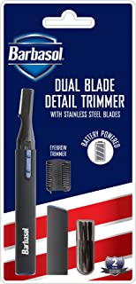 Barbasol Battery Powered Electric Dual Blade Fine Detail Trimmer with Stainless Steel Blades