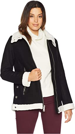 Zippered Front Wool Short Coat with Sherpa Trim R8351