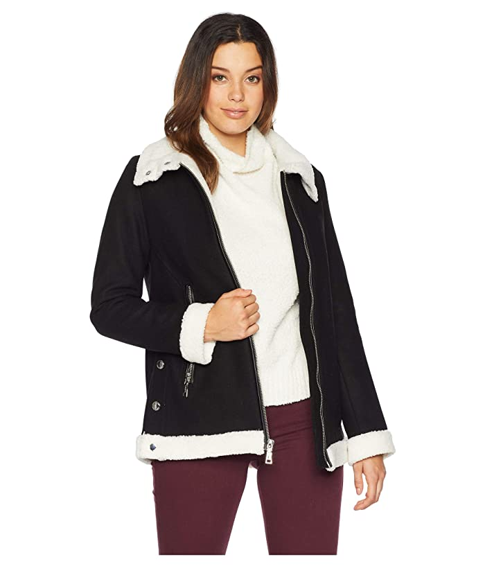 48a192b7b1278a Vince Camuto Zippered Front Wool Short Coat with Sherpa Trim R8351 ...